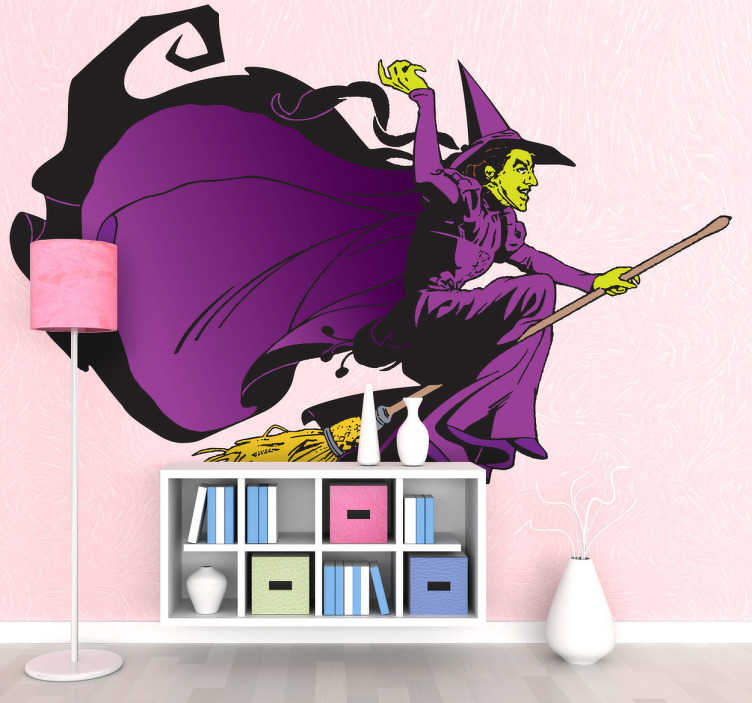 TenStickers. Adesivo logo strega malvagia Mago Oz. Disegno in sticker della fattucchiera malvagia, nota dal famoso film, mentre vola a cavalcioni della sua scopa magica.
