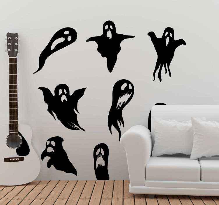 TenStickers. Autocolantes decorativos de halloween Fantasmas. Nosso vinis decorativos de halloween fantasmas é o produtode muitos fantasmas assustadores diferentes derretendo. é fácil de aplicar e pode ser removido a qualquer momento.