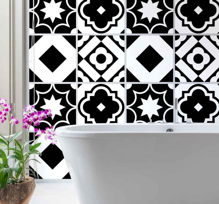 TenStickers. Adesivos azulejos Mosaico padrão preto e branco. autocolante decorativo para ladrilhos com padrão branco adequado para um espaço de parede de cozinha, também pode ser aplicado no banheiro, quarto e sala de estar.