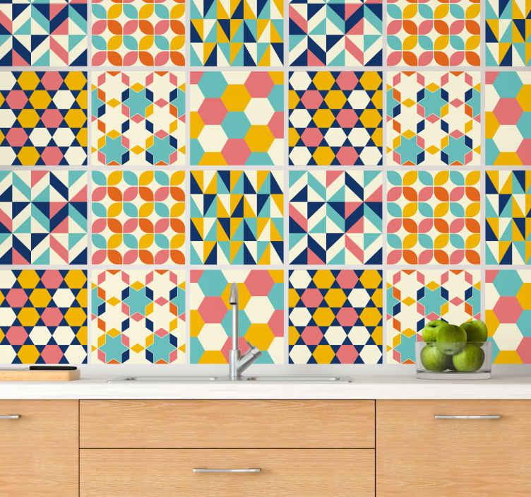 TenStickers. Adesivos azulejos Azulejo colorido intrincado. Multicoloridas indicam autocolante de padrão geométrico de azulejo adequado para superfície de parede de banheiro, quarto, sala e até mesmo espaço de cozinha.