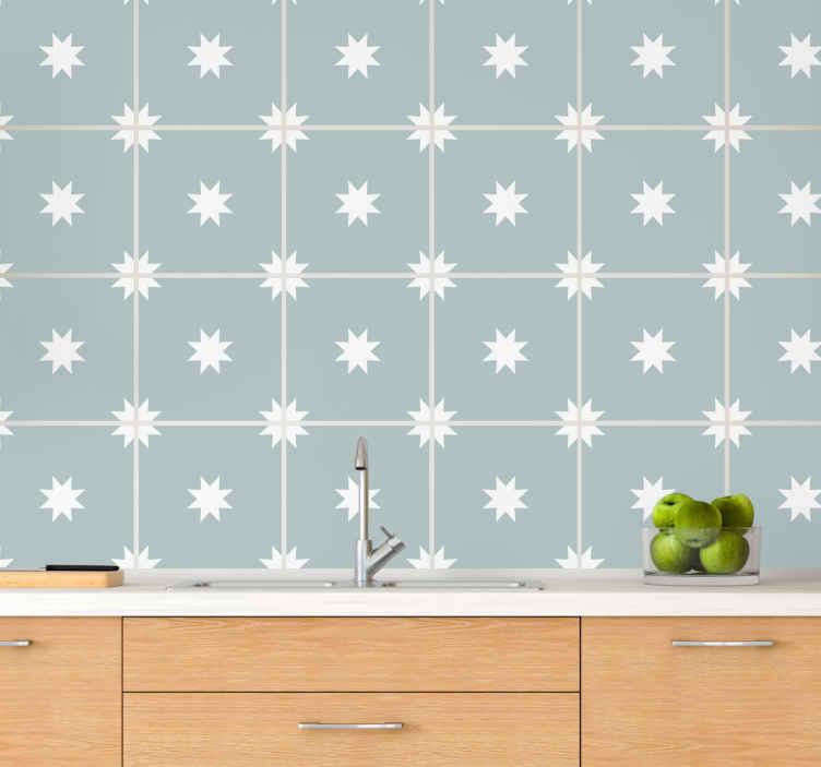 TENSTICKERS. 青と白の星のタイル転送デカール. バスルーム、ベッドルーム、リビングルーム、キッチンスペースにも適した青と白の星のタイルステッカー。デザインはオリジナルでとても簡単に適用できます。