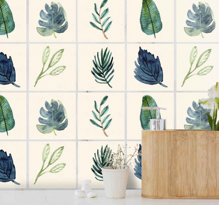 TenStickers. Tropical grey leaves tile transfer. Waterproof decorative tile sticker with the design of different transiting colour of tropical green leaves. It is original, durable and self adhesive.