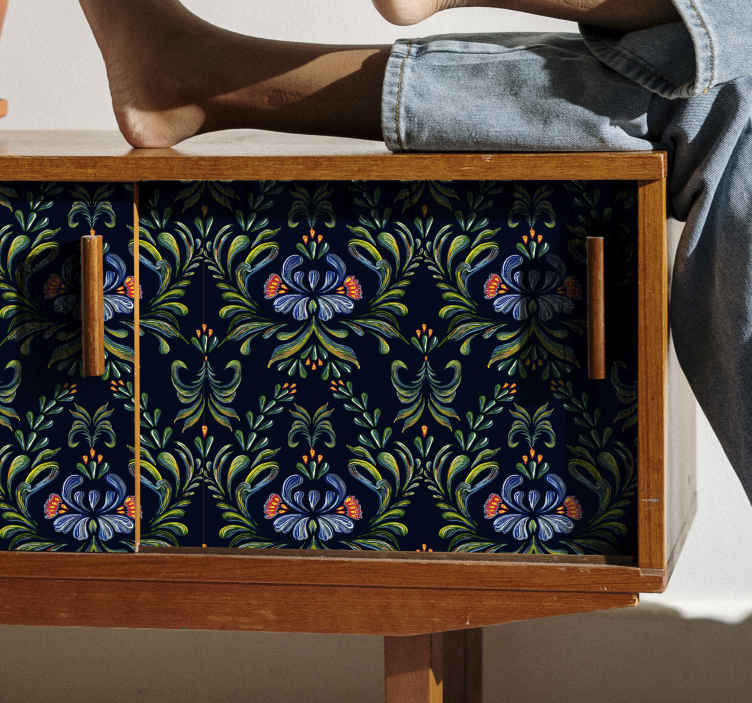 TenStickers. Colorful folk ornament decals for furniture. Decorative and waterproof ethical ornamental flower furniture sticker to beautify any furniture. It is original, durable and self adhesive.