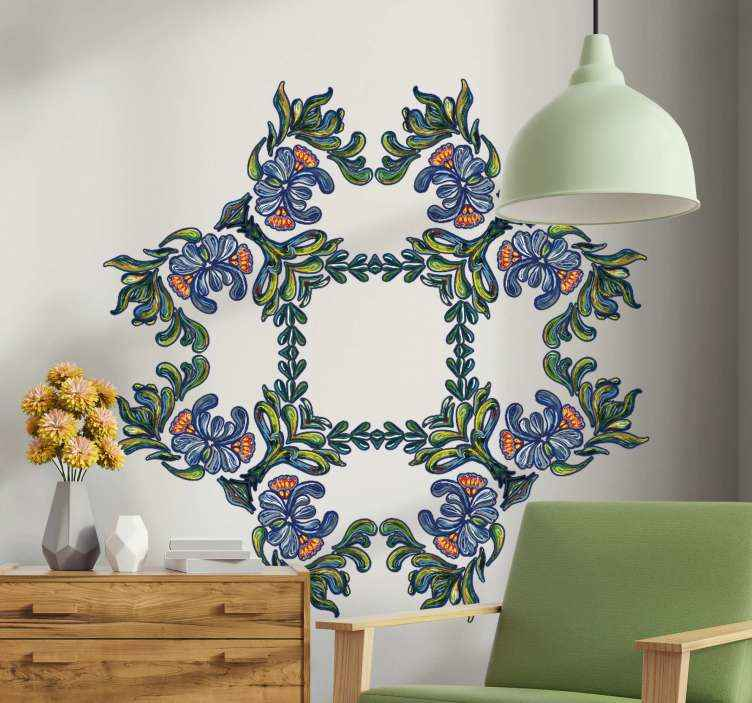 TENSTICKERS. 青い民族飾り花壁デカール. 美しい青い民族飾り花の壁のステッカーは、選択したスペースを美しくします。オリジナルで耐久性があり、自己粘着性があります。