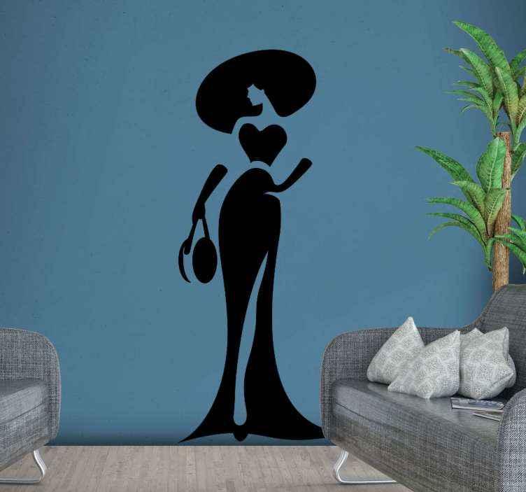 TENSTICKERS. 抽象的なファッション美容壁デカール. ビューティーサロンビジネスウォールステッカー。デザインはロングドレス、大きな帽子をかぶってバッグをかぶったファッションレディのシルエットが入っています。