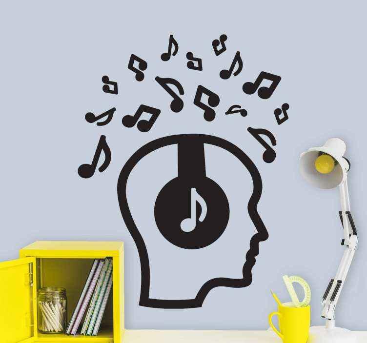 TENSTICKERS. 音楽djの完全な壁のステッカーの頭. 装飾的な音楽djヘッドセット音楽の音とシンボルのビニールデカール。音楽愛好家のための完璧なデザイン。異なる色でご利用いただけます。