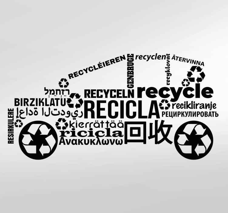 TENSTICKERS. 実例となるリサイクル車のサインデカール. さまざまな言語で「リサイクル」に翻訳されているワードクラウドテキストステッカーデザインの束。これらの言葉は車の形をしています。適用が簡単で耐久性があります。