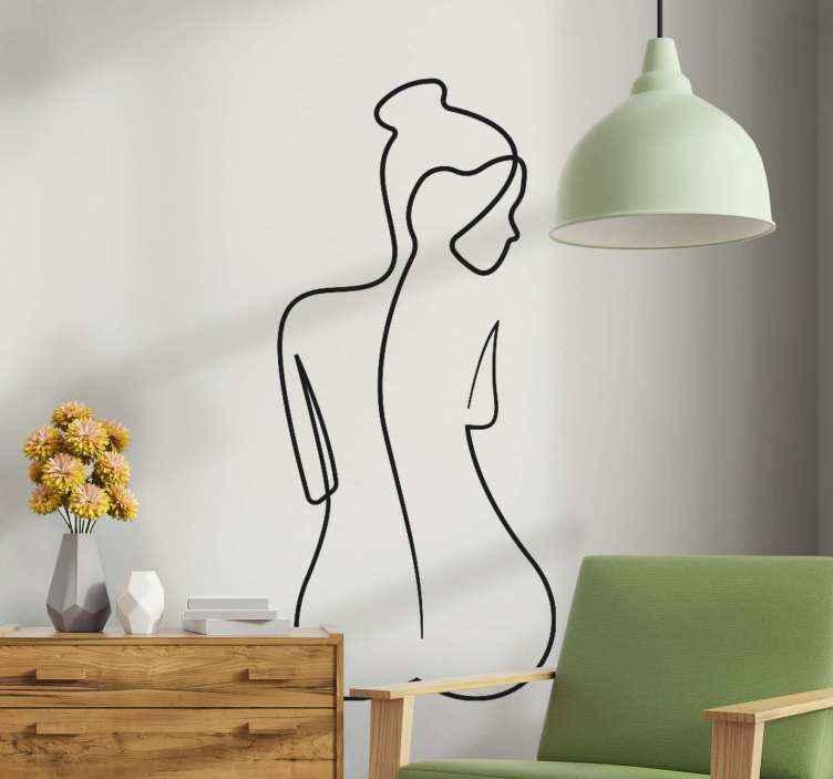 Tenstickers. Kvinna elegant linje konst stil dekaler. Subtil och imponerande väggklistermärke med en kvinnokropp, perfekt för att dekorera ett sovrum. Gjord av högsta kvalitet material och lätt att applicera.