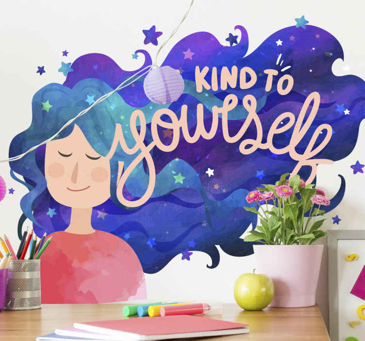 """TenVinilo. Frase para la pared sé amable para mujer. Frase para la pared con el texto """"sé amable contigo"""" con una mujer con un largo cabello de color azul y lila. Elige medidas ¡Envío a domicilio!"""