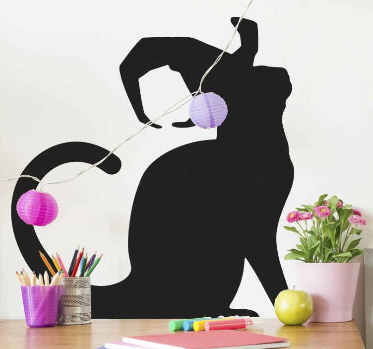 TenVinilo. Vinilo Halloween gato con sombrero de bruja. Fantástico vinilo infantil de Halloween con gato con sombrero de bruja para que decores el cuarto de tu hija ¡Envío a domicilio!