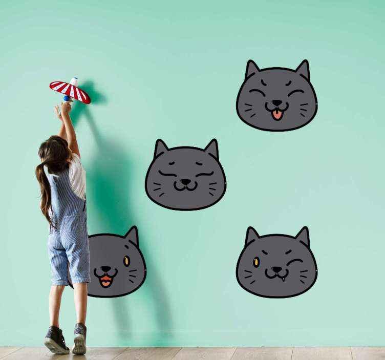 TENSTICKERS. 9つのかわいい漫画の猫の犬のデカール. 子供部屋の装飾のためのさまざまな漫画の猫の顔、猫はさまざまな笑顔の表情をしています。オリジナルで簡単に適用できます。