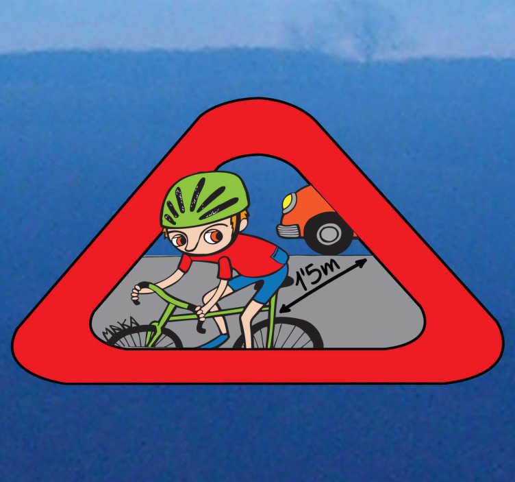 TenStickers. Sticker rispetto al ciclista auto Maka 5. Segnale di avvertimento ai veicoli vicini, con il quale viene ricordata la distanza minima che va lasciata tra un automobile e una bicicletta.