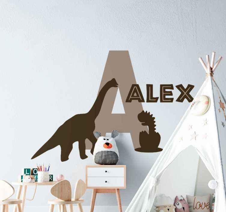TENSTICKERS. 恐竜のドラゴンウォールステッカー付き. 子供のための装飾的なドラゴンの動物のステッカー。それはあなたが望むどんな名前でもカスタマイズ可能であり、内接するイニシャルと完全な名前です。