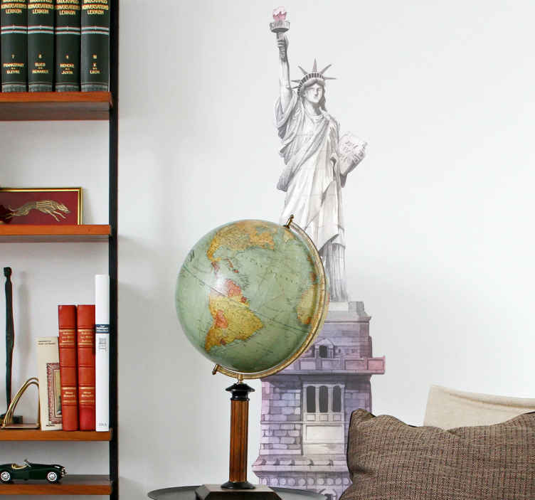 TENSTICKERS. 自由のニューヨークの壁のデカールの水彩画の像. 自由のニューヨークのステッカーデザインの像。あなたが望むあらゆるスペースのための美しい装飾、それはすべての平らな表面に装飾的です。