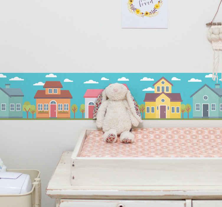 TENSTICKERS. パステルハウスボーダーステッカー. パステルカラーの家の子供部屋の壁の境界線のステッカー。デザインには、雲のシンボルが付いたさまざまなカラフルな家が含まれています。素晴らしいキッズルームのステッカー。
