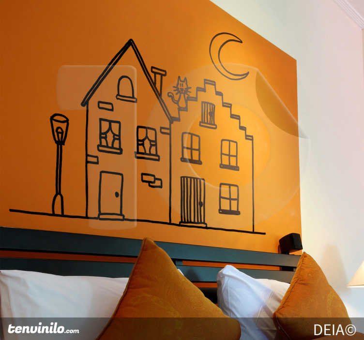 TenStickers. Twee huizen met een kat sticker. Muursticker met een originele illustratie van DEIA. Twee huilen onder een halve maan met een katje op het dak.