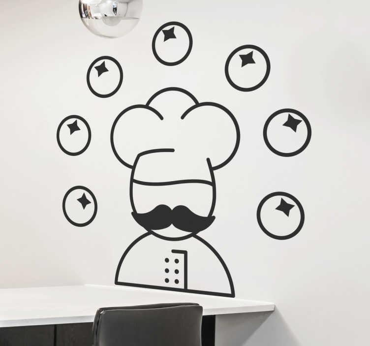 TENSTICKERS. ジャグリングシェフの壁のステッカー. シェフデカール - トマトをジャグリングするシェフのイラスト。キッチンのマスターシェフに最適!キッチンの壁のステッカーは様々な色で来る。