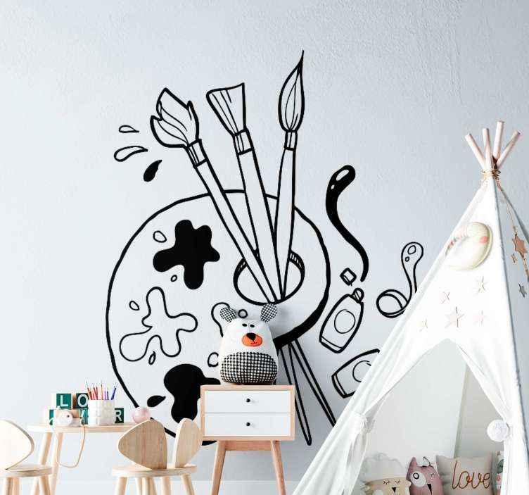 TENSTICKERS. ペイントパレット教育ステッカー. ペイントパレットを説明するさまざまな要素を含む美しい子供部屋のステッカー。あなたの子供が絵を描くのが好きなら、このデザインは取引です。