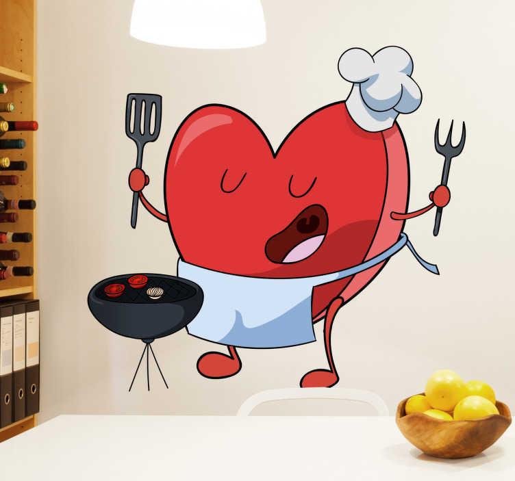 TenVinilo. Vinilo decorativo cocinero amor. Dibujo original en el que se representa un corazón chef preparado para cocinar una suculenta barbacoa.