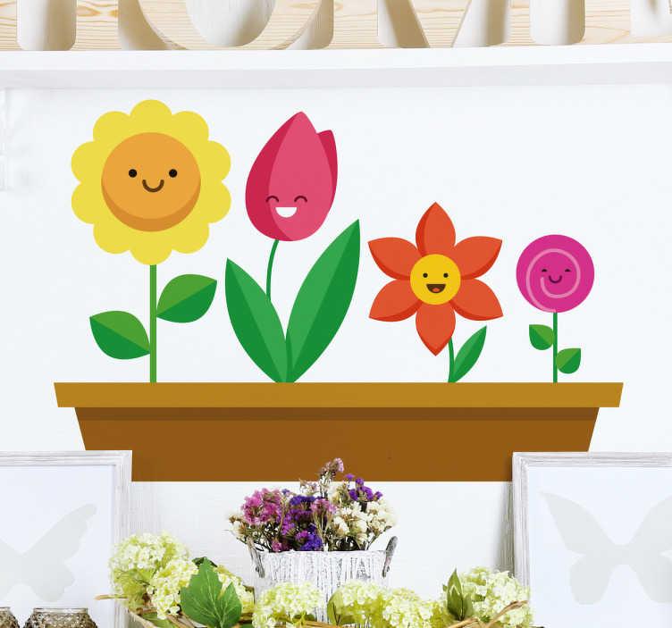 TenStickers. vinis decorativos família da margarida. Autocolantes decorativos florais - um desenho de uma família feliz de margaridas. Um vinil autocolante decorativo lúdico e divertido de nossa coleção de Autocolantes decorativos familiares.