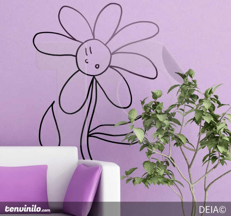 TenStickers. Sticker decorativo fiore senza petalo. Una simpatica margherita che si sorprende al perdere uno dei suoi petali. Un adesivo murale basato su un disegno originale di DEIA.