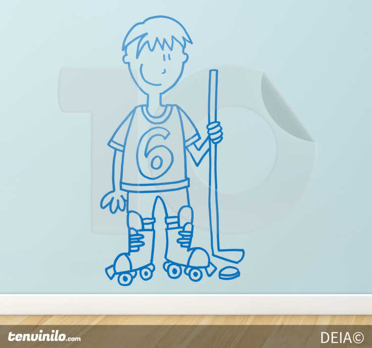 Sticker decorativo giocatore hockey