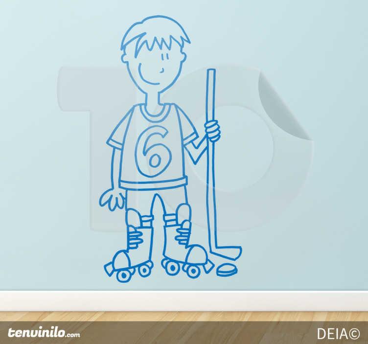 TenStickers. Sticker decorativo giocatore hockey. Adesivo murale che raffigura un giocatore di hockey su pista. Una simpatica idea per decorare la cameretta dei bambini.