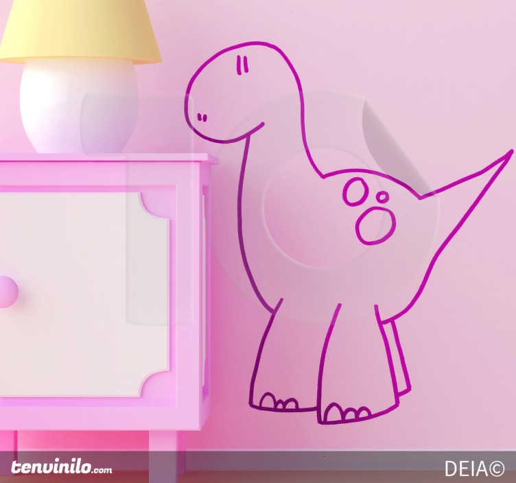 TenStickers. мини-динозавр настенный декор. все дети любят динозавров, так почему бы не украсить спальню вашего ребенка этой фантастической наклейкой на стену животного с нарисованным от руки силуэтом динозавра?