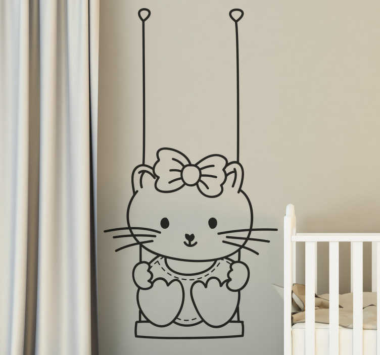 TenStickers. Girl in Swing Decorative Sticker. A decorative sticker of a girl in a swing. A very simple but original decal for your wall at home.