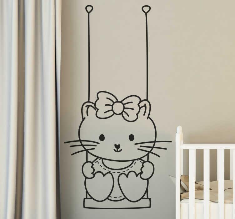 Sticker decorativo bimba su altalena