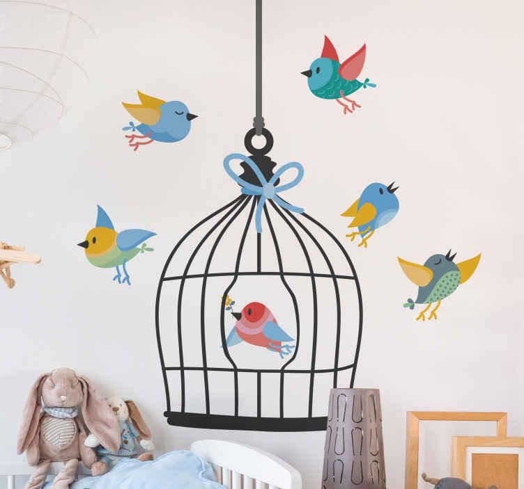 Image of Sticker uccello Gabbia per uccelli e uccelli