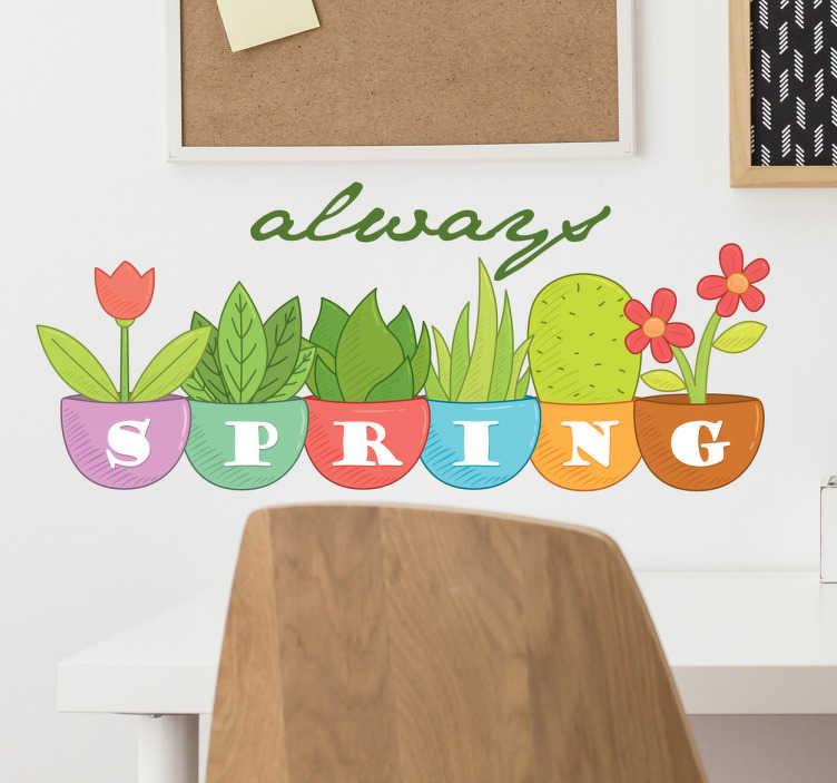 """TenStickers. 总是春天的雏菊贴花. 一群快乐的雏菊,带有梦幻般的文字""""永远春天""""。我们收集的雏菊墙贴为您的家居提供精美贴花。"""