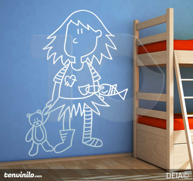 TenStickers. Girl with Teddy Drawing Sticker. Original illustration by DEIA for tenstickers.co.uk, in which a little girl is carrying her teddy bear and pet fish.