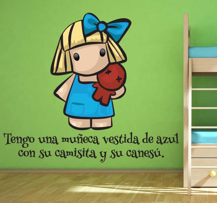 Vinilo infantil muñeca vestida azul