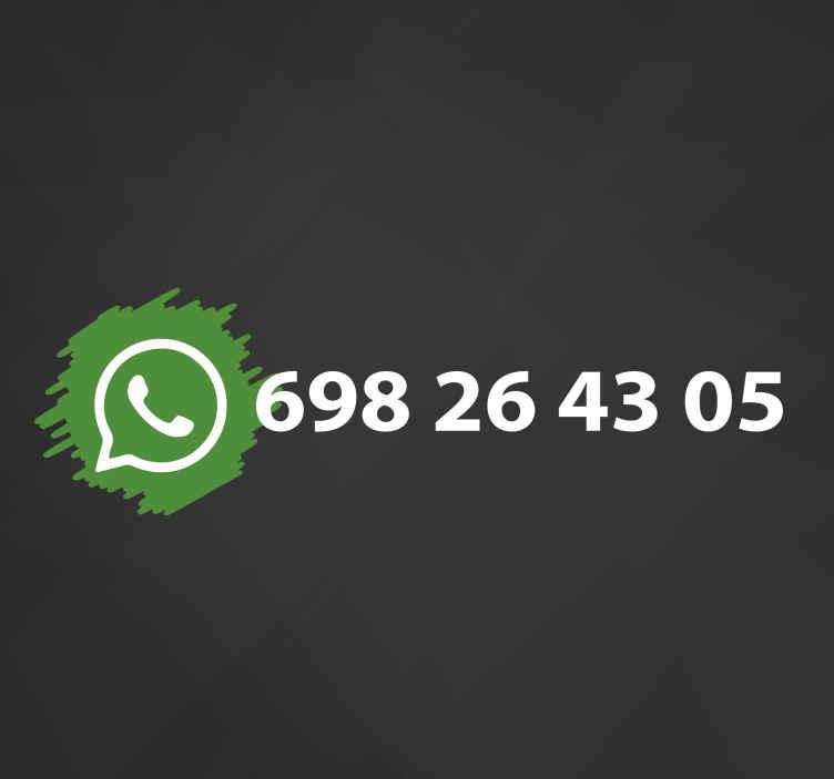 TenStickers. Aufkleber Schilder Whatsapp social media logo. Passen Sie Ihren firmennamen auf unserem whatsapp-logo-aufkleber an. Leiten sie Ihre kunden mit diesem Design zu Ihrem whatsapp-geschäftsbereich.