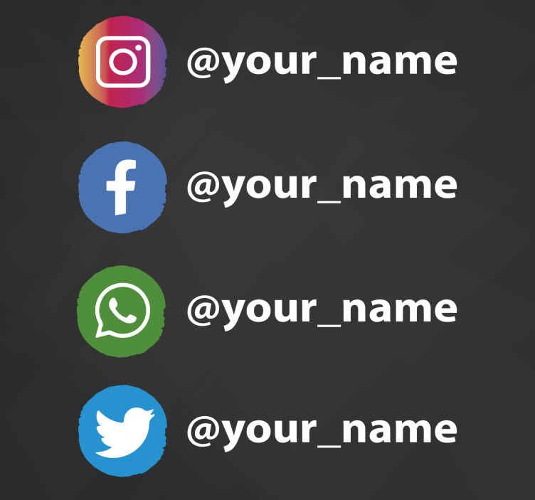 TenStickers. Stickers Icone dei punti dei social media. Questo design adesivo per vetrine presenta i loghi instagram, facebook, whatsapp e twitter in piccoli cerchi. Materiale estremamente duraturo.