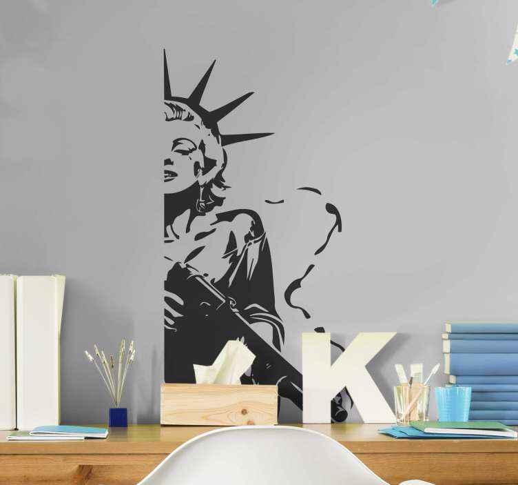 TenVinilo. Vinilo personaje Marilyn estatua libertad. Vinilo habitación juvenil de Marilyn Monroe en un diseño de la estatua de la libertad. Ideal para los amantes de la celebrity ¡Decora a tu gusto!