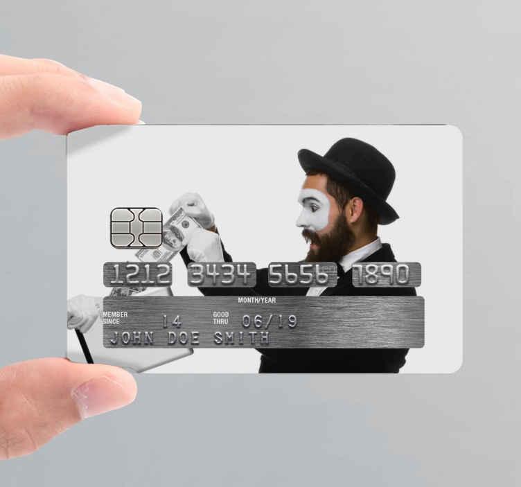 TENSTICKERS. ビジネスマンはお金の銀行カードのステッカーを抽出します. 銀行カードを美しくするための装飾的な銀行クレジットカードステッカー。このデザインには、ビジネスを説明するドル紙幣を持っている男性のイメージがあります。