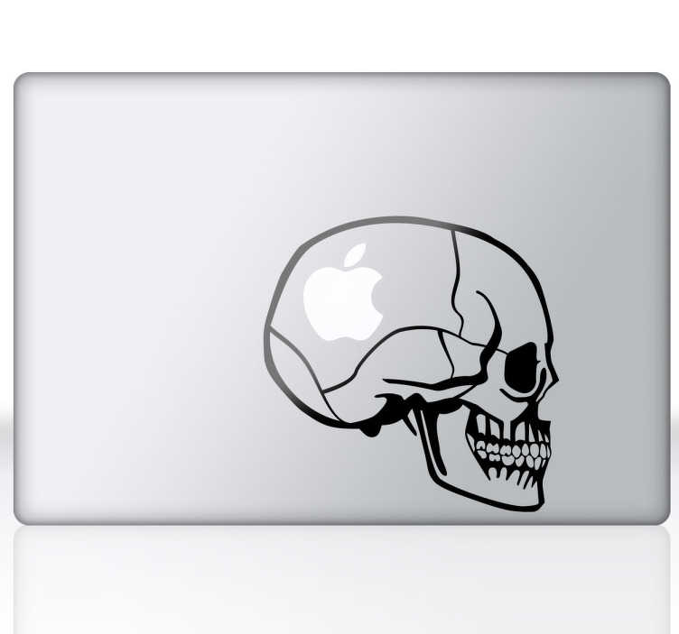 TenStickers. Skull Macbook Laptop Sticker. Skull Laptop Decals - A skull themed design perfect for laptops and Macbooks. Are you Apple in the head, a huge fan or obsessed? Stickers from £1.99.