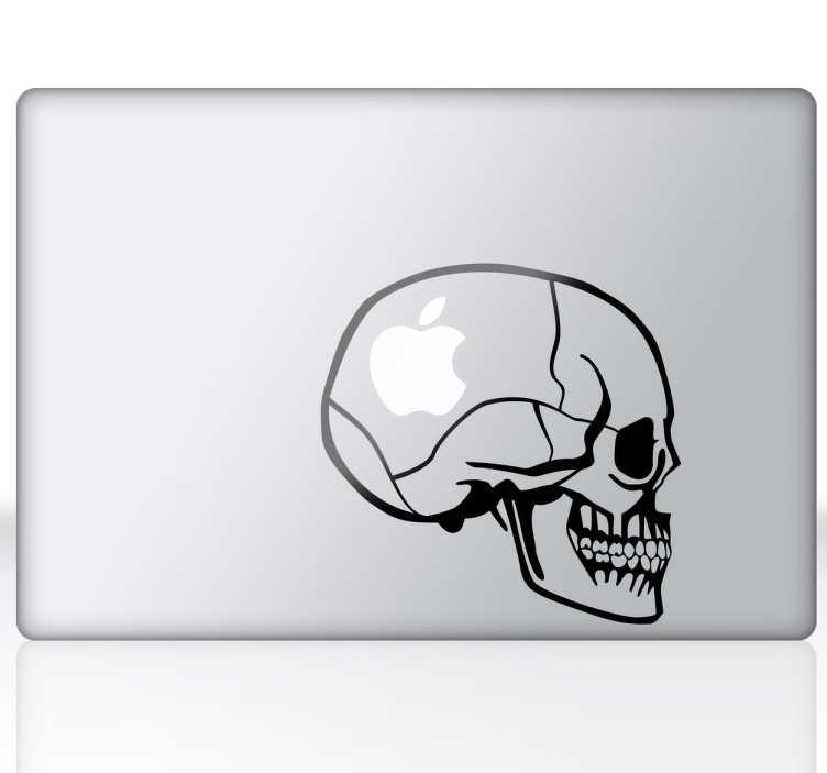 TenStickers. 해골 맥북 노트북 스티커. 두개골 노트북 데칼 - 두개골을 테마로 한 디자인으로 노트북 및 macbook에 적합합니다. 당신은 머리 속에 사과입니까, 거대한 팬입니까, 아니면 사로 잡혀 있습니까? 1. 99 파운드의 스티커.