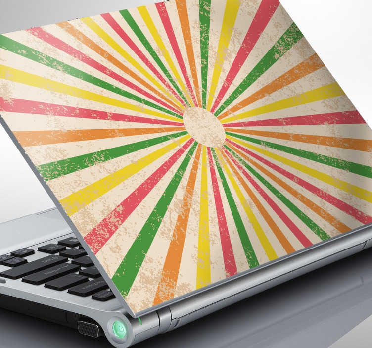 TenStickers. Circus Theme Laptop Sticker. A retro laptop sticker with a circus theme showing yellows, greens, reds and oranges to create a gorgeous colourful skin for your device! If you are looking for a laptop sticker that will provide you with a unique and original appearance for your device then this is the ideal design for it!
