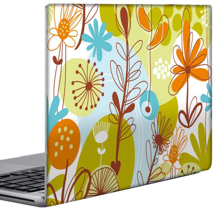 TenStickers. Skin adesiva portatile motivo floreale pop. Decora la cover del tuo portatile con un colorito motivo floreale in stile anni 70. Uno sticker con il quale farai colpo.