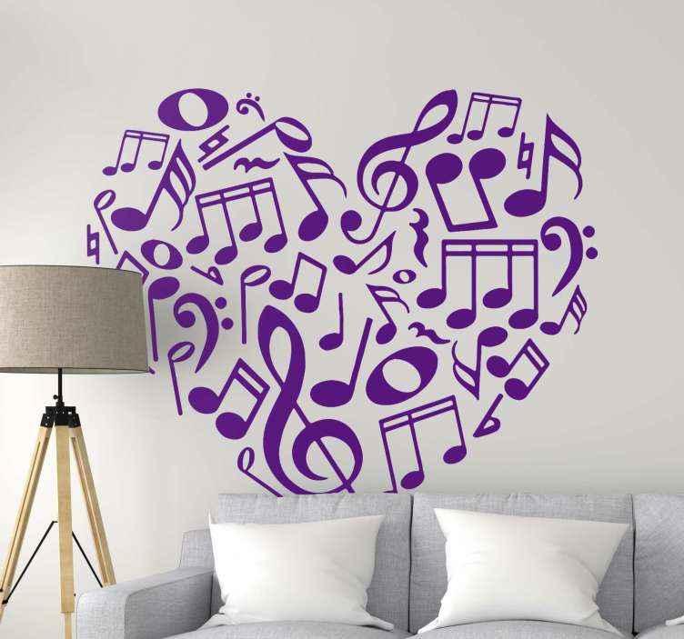 TenStickers. Autocolante decorativos de música clássica Coração nota musical. Uma coleção de notas musicais e autocolante de símbolo em forma de coração. Você definitivamente admiraria este produtoao colar em qualquer superfície de sua escolha.