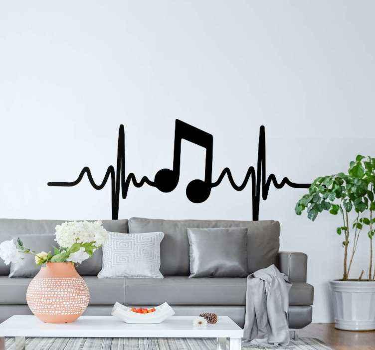 TenStickers. Autocolantes de DJ Nota musical na batida. autocolante decorativo para amantes de música e entusiastas. Um desenho que ilustra o símbolo musical e a batida do coração em uma linha vertical. Original e autoadesivo.