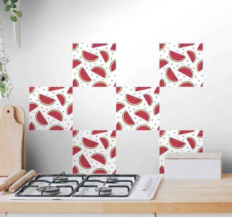 TENSTICKERS. 種タイル転送とスイカ. キッチンの壁の装飾に適した装飾的なスイカタイルビニールデカール。デザインは、キッチンの食器棚や引き出しスペースにも適用できます。