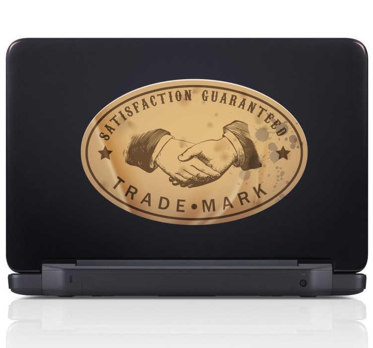 """TenStickers. Sticker satisfaction guaranteed. """"Voldoening gegarandeerd"""" met deze decoratie sticker voor de versiering van de achterzijde van je laptop of een andere oppervlakte."""