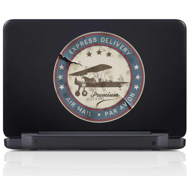 TenStickers. Naklejka pieczątka retro samolot. Naklejka dekoracyjna na laptop, która przedstawia obrazek inspirowany starymi pieczątkami.
