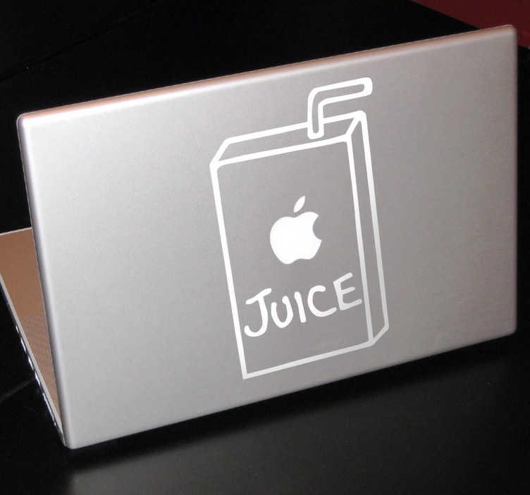 TenStickers. Apple Juice iPad Mac Aufkleber. Dieser lustige Aufkleber integriert das Apple Logo als Apfelsaft Trinkpäckchen und macht Ihr iPad oder Mac zu einem Eyecatcher.