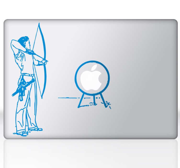 TenStickers. Skin adesiva arciere con bersaglio per Mac. Sticker decorativo pensato per dispositivi Apple, raffigurante un arciere che mira ad un bersaglio rappresentato dal logo del tuo Mac.
