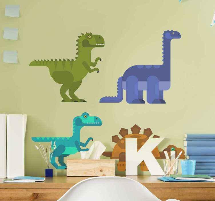 TENSTICKERS. 幾何学的な恐竜ドラゴンウォールステッカー. 幾何学的な質感の外観で作成された装飾的な恐竜の動物のデカール。デザインは3匹の恐竜と1匹のカメで構成されています。
